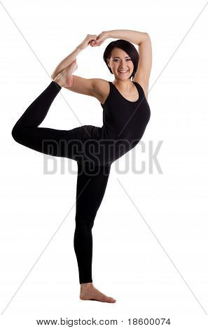 woman stand in yoga Dancer Pose - funky version