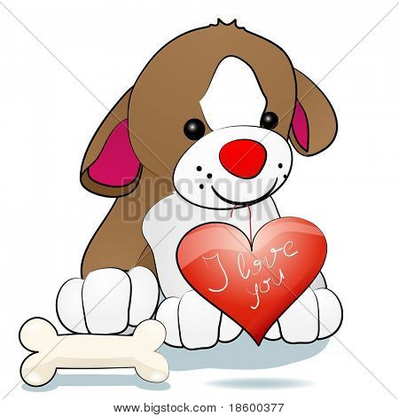 Sweety dog holding heart in mouth