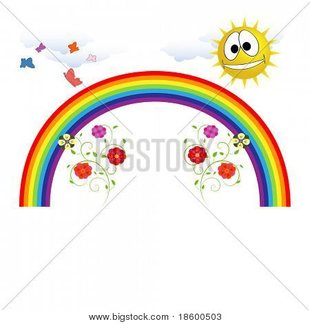 Regenbogen, Sonne, Blumen und Schmetterlinge isolated on White with Copy space