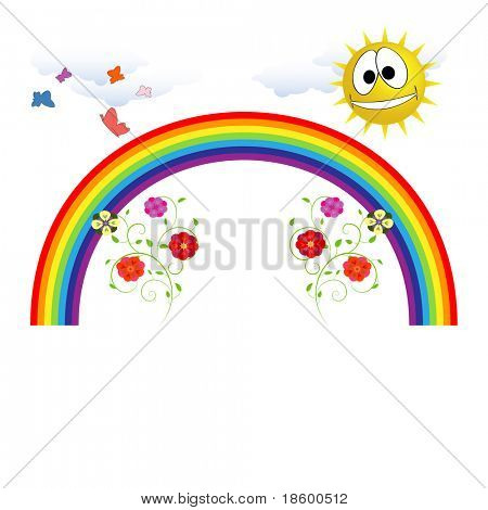 Rainbow , sun, flowers and butterflies isolated on white with copy space