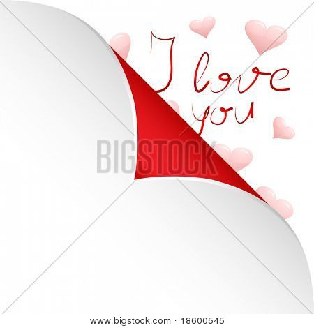Hearts and words I love you under sticky paper on the white background and space for your text
