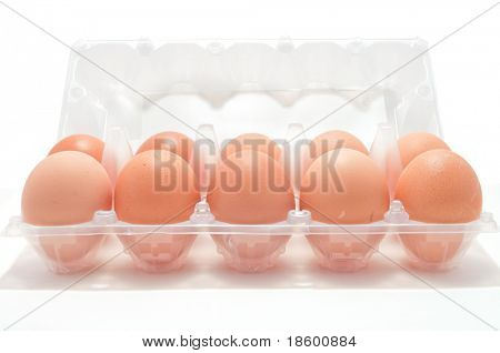 Eggs in the box isolated on white