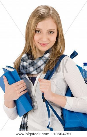 Student Teenager Woman With Schoolbag Hold Books