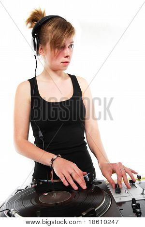 Isolated Young Female Dj Playing Vinyl