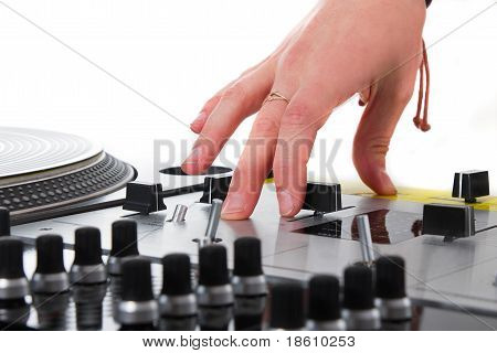 Hand Of A Female Dj Isolated