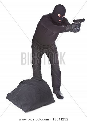 Robber With Sack Aiming With His Gun
