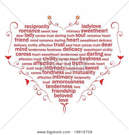 Valentine heart from sweet love words on white background