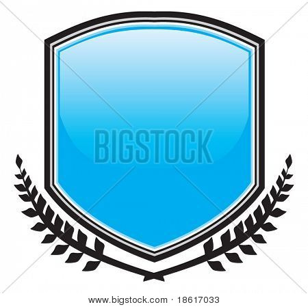 Glossy blue shield and fronds on white background