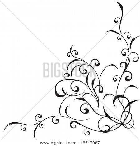 Beautiful floral corner isolated on white