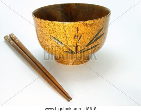 Wooden Bowel And Chopsticks
