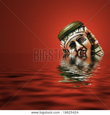 Sad ivory Tut head sinking in a red sea.
