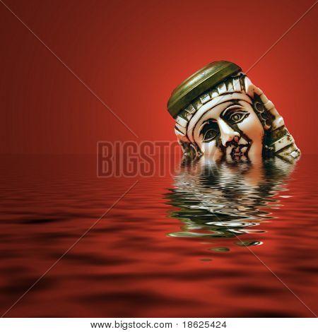 Sad ivory Tut head sinking in a red sea.