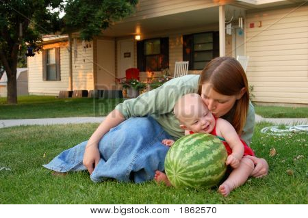 Watermelon Baby And Mom