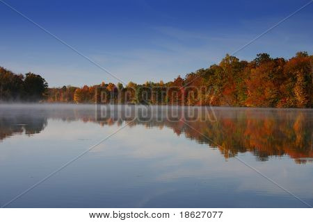 Misty Fall River Background