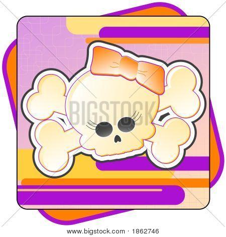 Girly Skull & Crossbones Illustration