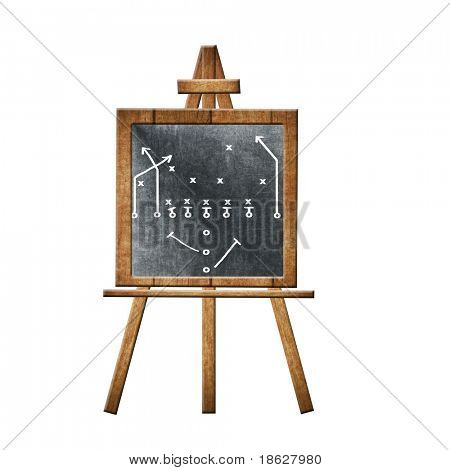 Football Play on a Chalkboard on White.