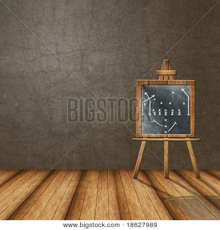 Dimensional Room with A Football Play on a ChalkBoard