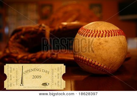 Opening Day 2009 Ticket on Baseball Background