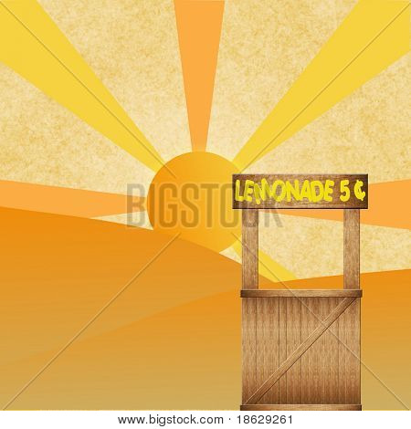 Lemonade Stand on a Sun Rise Background