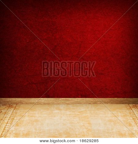 Dimensional Room with Red Grunge Wall and Carpeted Floor.