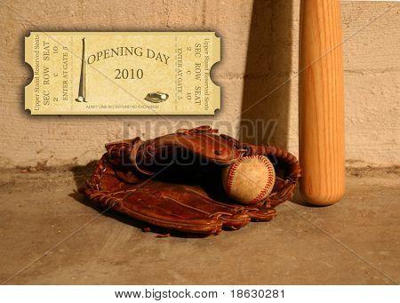 Opening Season 2010 Ticket on Baseball Background