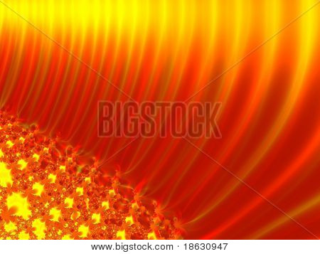 Fractal image of the abstract depiction of the sun or sunflower.