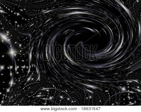 Fractal image of an abstract depicting a powerful black hole in space.