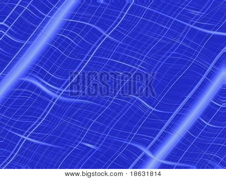 Fractal image of wavy lace netting over blue.