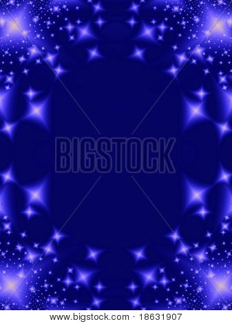 Fractal image of an abstract star galaxy or constellation background border.
