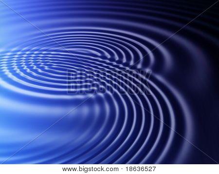 Fractal image of water ripples on a dark pool of water.