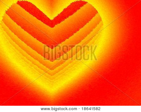Fractal image depicting a flaming heart for a valentine background.