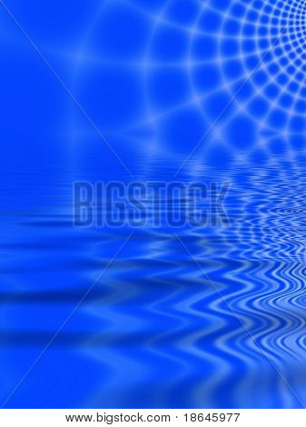 Fractal image of an abstract spider web against a blue sky reflected in water.