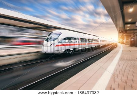 poster of White Modern High Speed Train In Motion