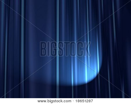 Fractal image of heavy velvet stage curtains with spotlight.