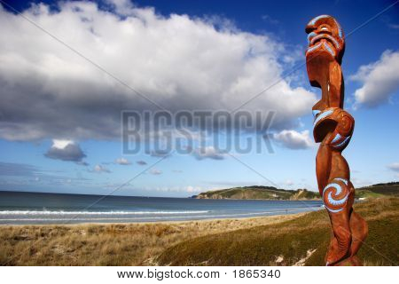 Maori Carving Guarding Omaha Beach
