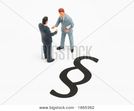 Business Concept Managers Shaking Hand And Law Sign