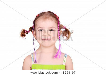 little girl with pigtails portrait