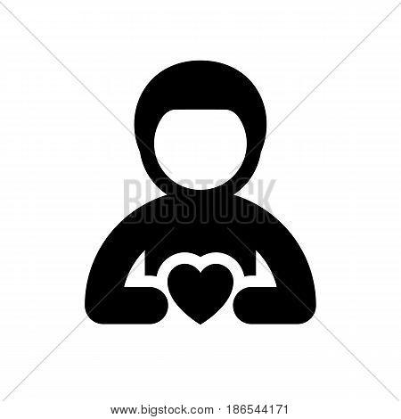 Man. Black icon isolated on white background