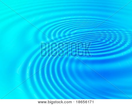 Fractal image of blue concentric water ripples for a background.