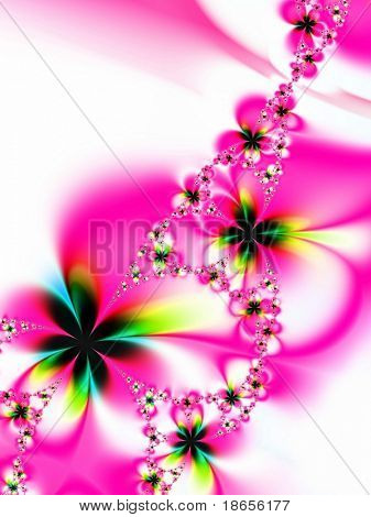 Fractal image of a spring daisy chain.