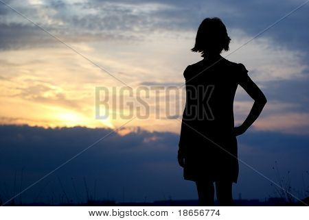 Silhouette of girl. Element of design.