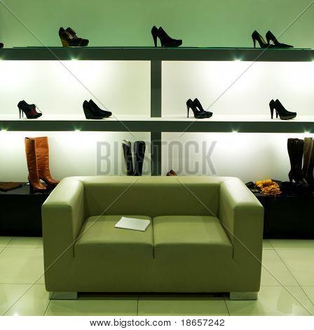 In shoe shop. Element of design.