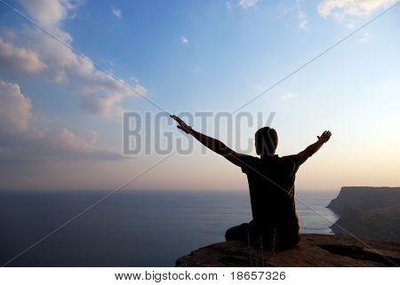 Man on the edge. Conceptual scene.