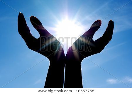 Sun in hands. Conceptual design.