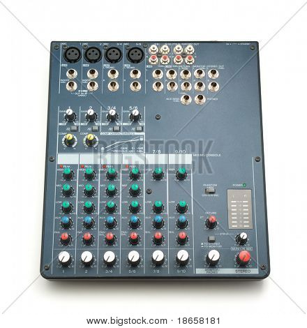 Isolated mixing console. Music device. Element of design.