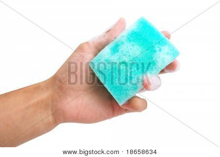 Isolated sponge in hand. Element of design.