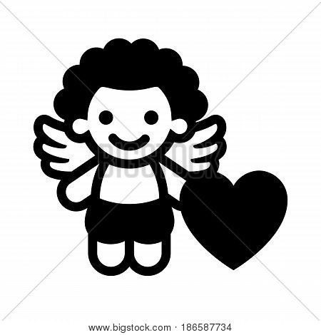 Cupid. Black icon isolated on white background