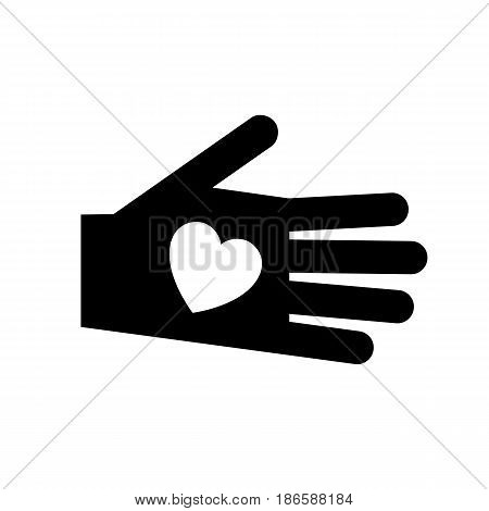 Hand. Black icon isolated on white background