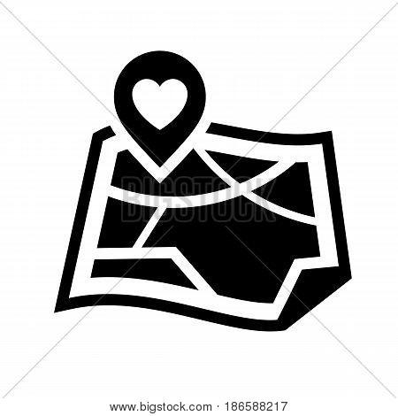 Map. Black icon isolated on white background
