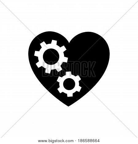 Heart. Black icon isolated on white background